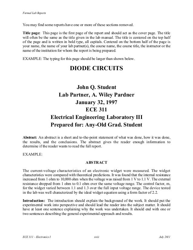 Sample electrical engineering lab report