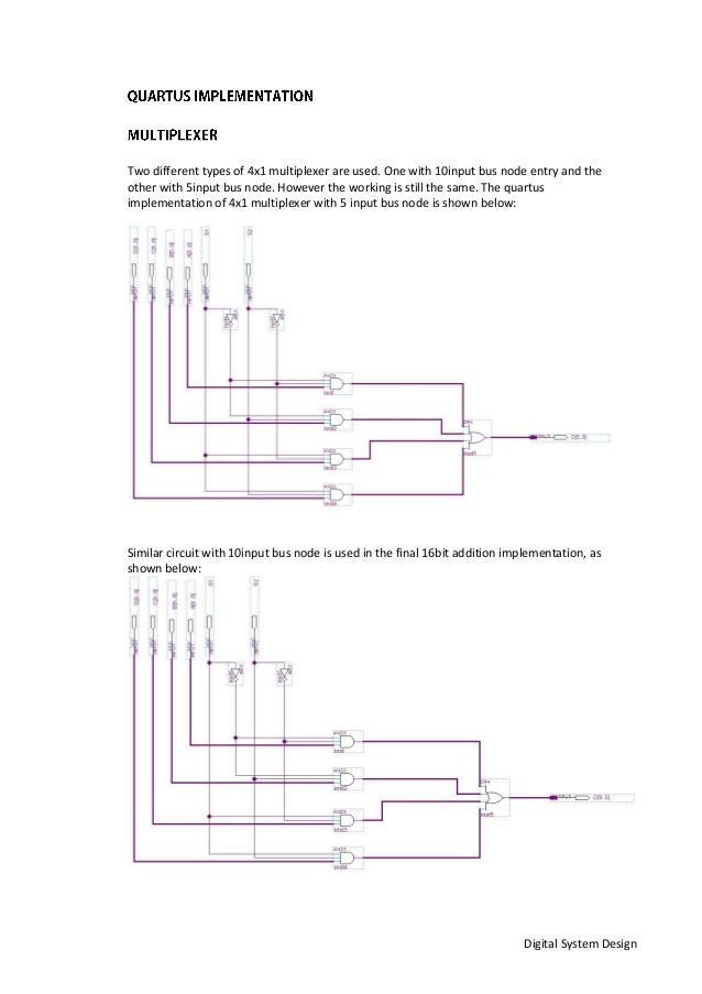 Digital System Design Two different types of 4x1 multiplexer are used. One with 10input bus node entry and the other with ...