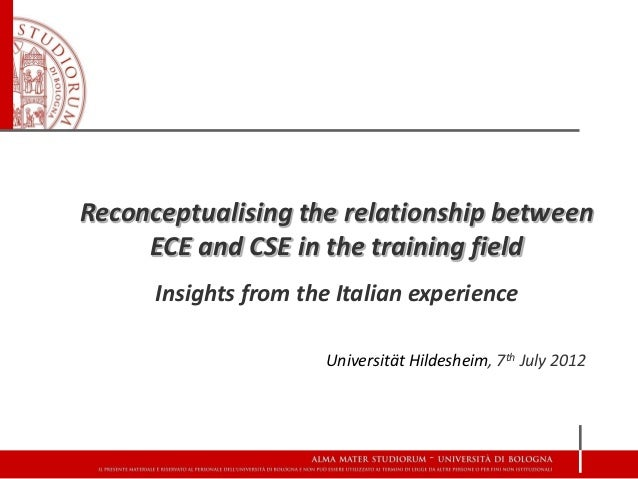 Reconceptualising the relationship between     ECE and CSE in the training field      Insights from the Italian experience...