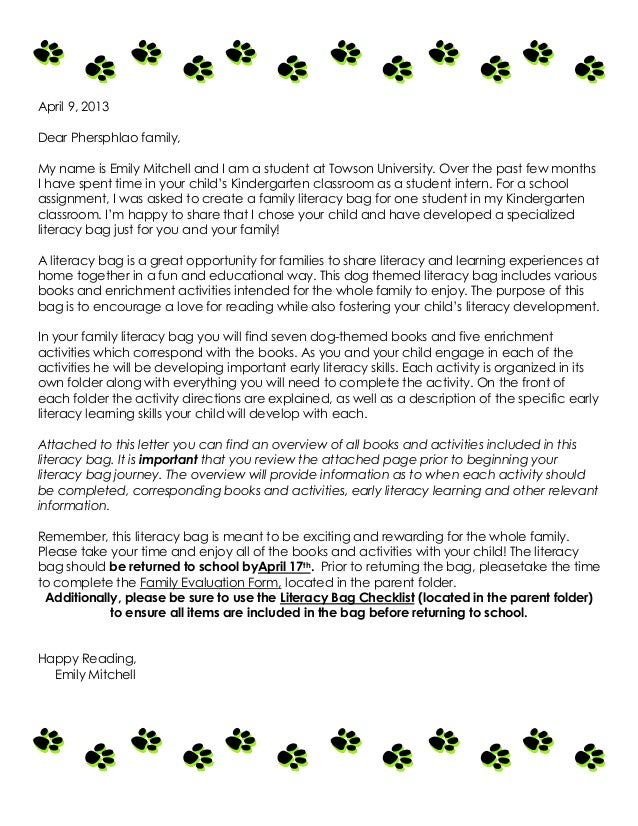 Reading Program Letter To Parents