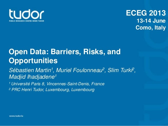 Open Data: Barriers, Risks, and Opportunities Sébastien Martin1, Muriel Foulonneau2, Slim Turki2, Madjid Ihadjadene1 1 Uni...