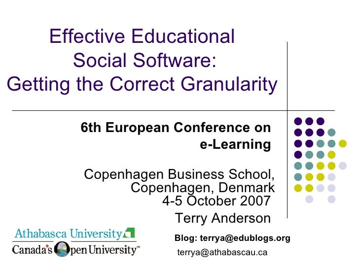 Effective Educational  Social Software: Getting the Correct Granularity 6th European Conference on  e-Learning  Copenhagen...