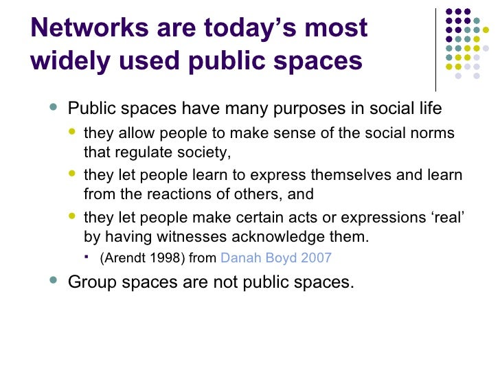 Networks are today's most widely used public spaces <ul><ul><li>Public spaces have many purposes in social life </li></ul>...