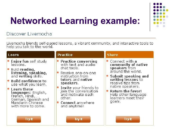 Networked Learning example: