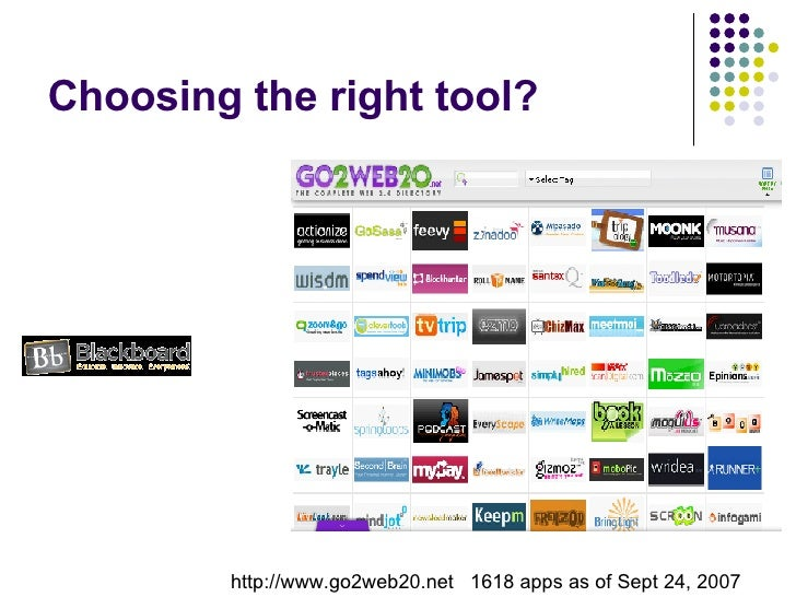 Choosing the right tool? http://www.go2web20.net  1618 apps as of Sept 24, 2007