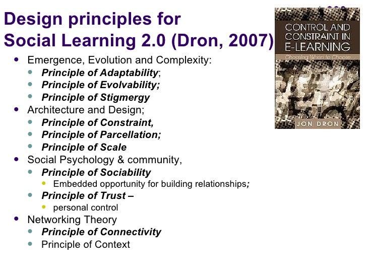 Design principles for  Social Learning 2.0 (Dron, 2007) <ul><li>Emergence, Evolution and Complexity: </li></ul><ul><ul><li...