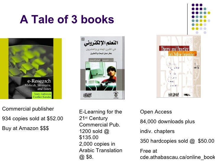 A Tale of 3 books Open Access 84,000 downloads plus  indiv. chapters 350 hardcopies sold @  $50.00 Free at cde.athabascau....
