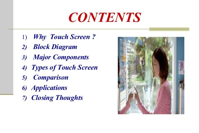 2 CONTENTS 1 Why Touch Screen Block Diagram