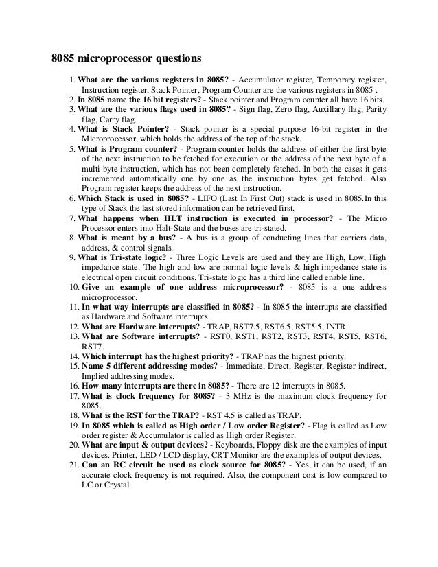 8051 Microcontroller Interview Questions And Answers Pdf