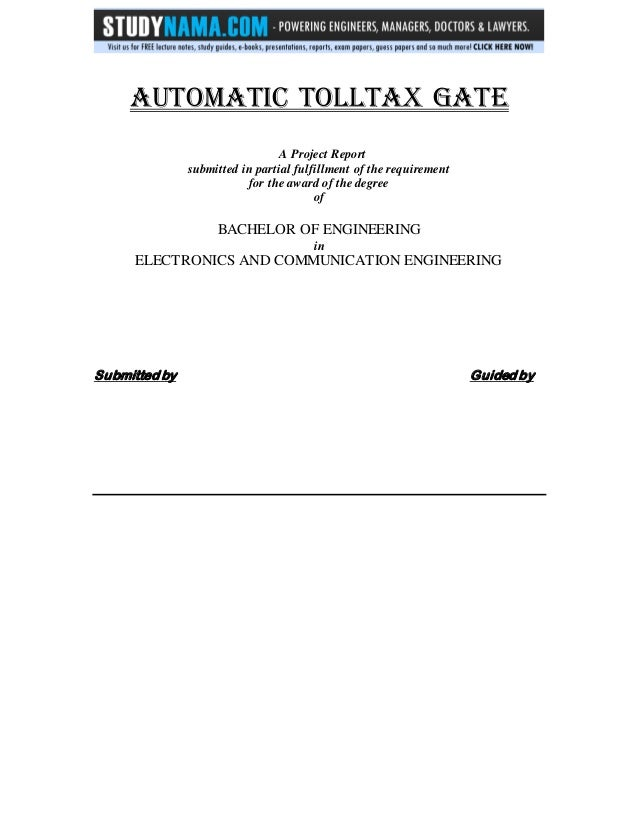 Ece project report on automated toll tax gate free pdf download