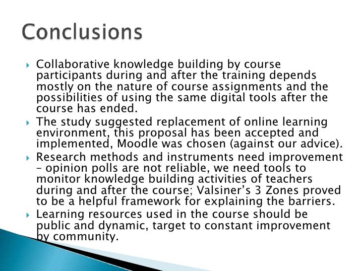 Collaborative knowledge building by course participants during and after the training depends mostly on the nature of cour...