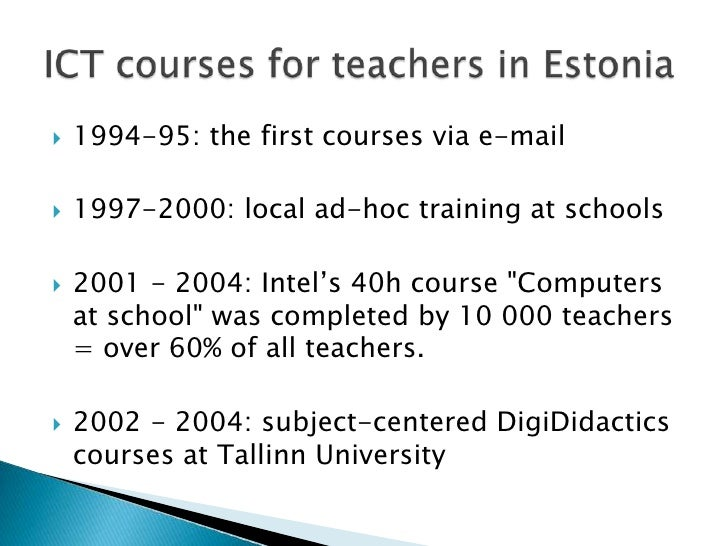 """1994-95: thefirstcoursesvia e-mail<br />1997-2000: localad-hoctraining at schools<br />2001 - 2004: Intel's 40h course """"Co..."""