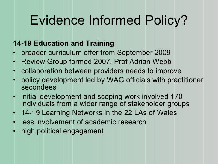 evidence and policy in six european What types of evidence are needed for decision-makers  coalition for evidence-based policy (the alliance for useful evidence in uk)  six clearinghouses are .
