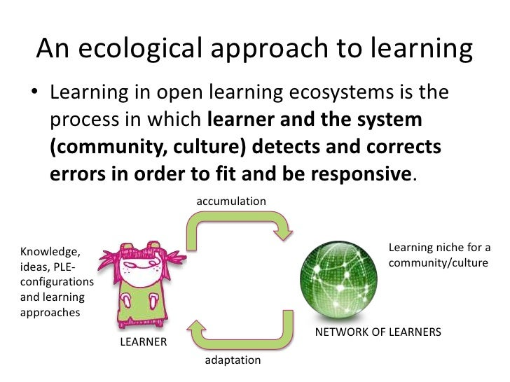 An ecological approach to learning<br />Learning in open learning ecosystems is the process in which learner and the syste...