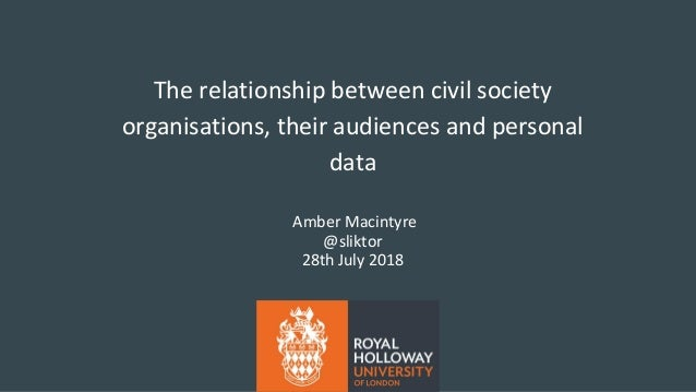 The relationship between civil society organisations, their audiences and personal data Amber Macintyre @sliktor 28th July...