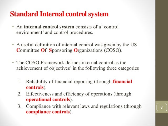 system of internal control Internal control system is implemented by the management or those charged with governance to assure that entity's objectives regarding reporting, compliance with.