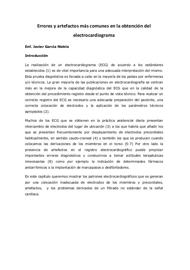 Errores  y  artefactos  más  comunes  en  la  obtención  del   electrocardiograma   Enf. Javier Garcia...