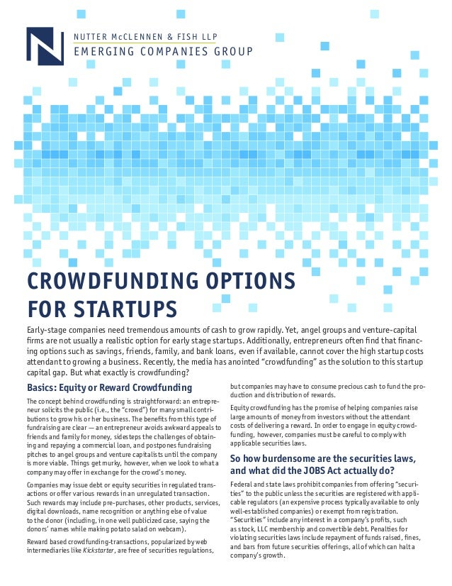 Crowdfunding options for startups for Nutter mcclennen fish llp