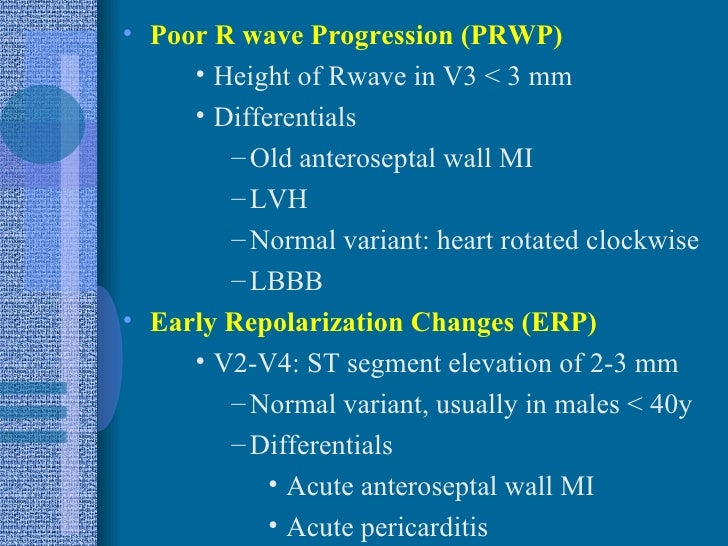 What is the meaning a poor R-wave progression in a cardiogram?