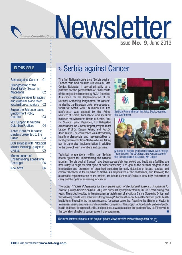 ECG | Visit our website: www.hd-ecg.com 1 Serbia against Cancer The first National conference 'Serbia against Cancer' was ...