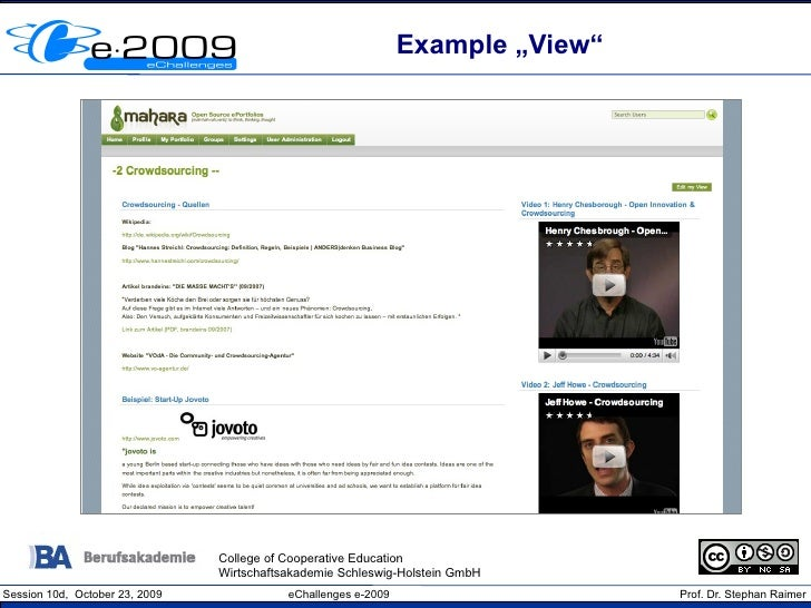 """Example """"View""""                                     College of Cooperative Education                                 Wirtsc..."""