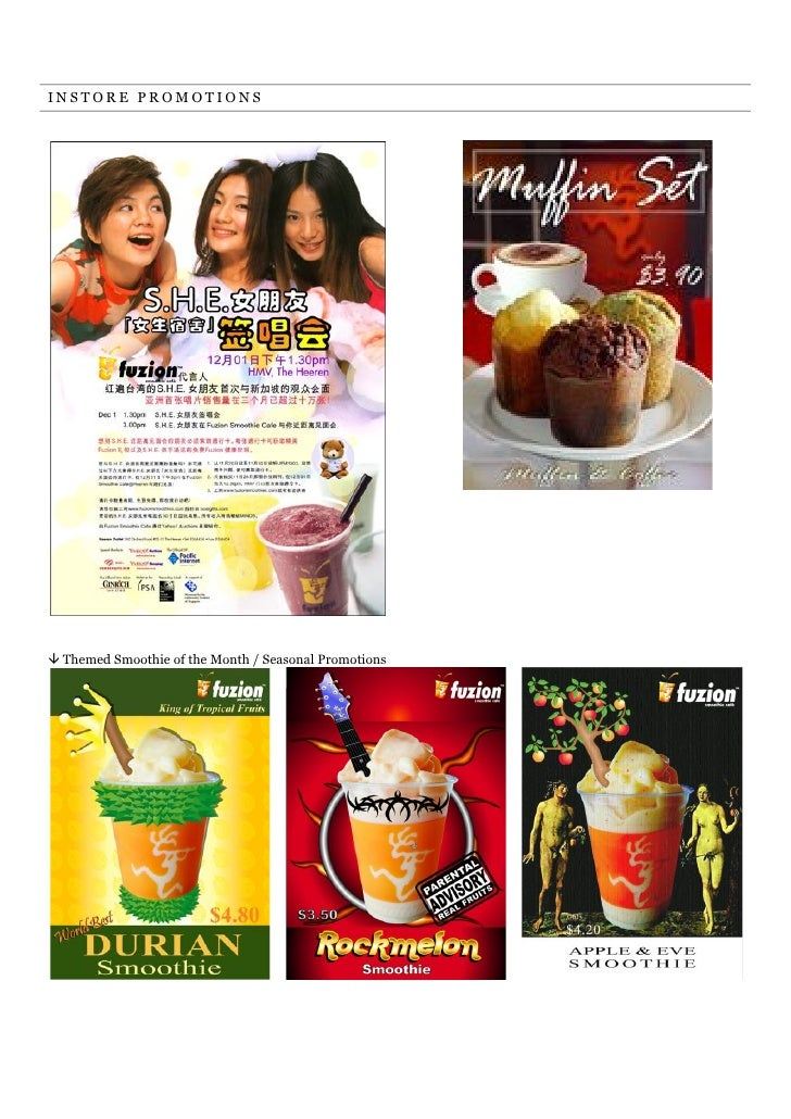 INSTORE PROMOTIONS! Themed Smoothie of the Month / Seasonal Promotions