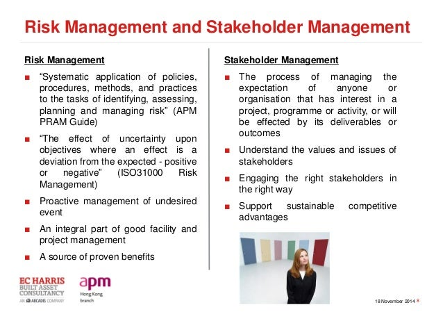 stakeholders and project risk management The international risk standard iso31000:2009 risk management – principles and guidelines says risk is the 'effect of uncertainty on objectives', and the project management institute practice standard for project risk management defines risk as an 'uncertain event or condition that, if it occurs, has a positive or negative effect on a.