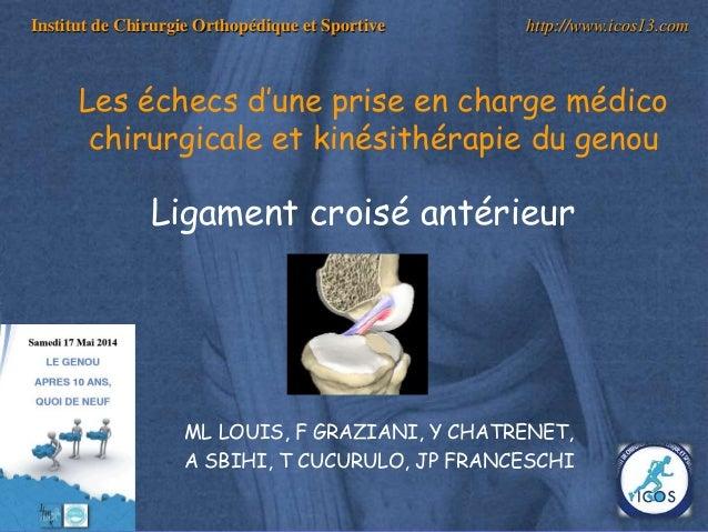 1 Institut de Chirurgie Orthopédique et Sportive http://www.icos13.com Les échecs d'une prise en charge médico chirurgical...