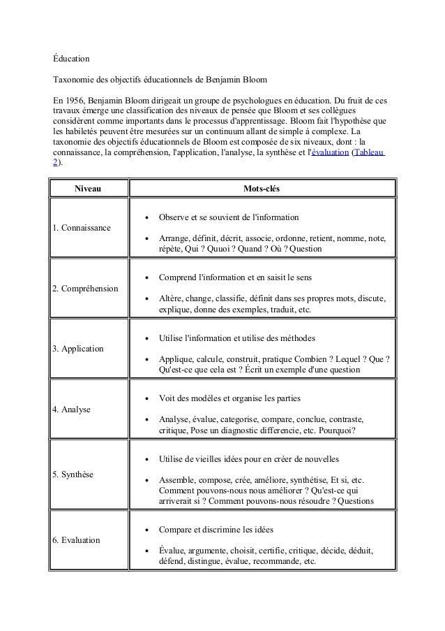 Éducation Taxonomie des objectifs éducationnels de Benjamin Bloom En 1956, Benjamin Bloom dirigeait un groupe de psycholog...