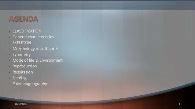AGENDA • CLASSIFICATION • General characteristics • SKELETON • Morphology of soft parts • Symmetry • Mode of life & Enviro...
