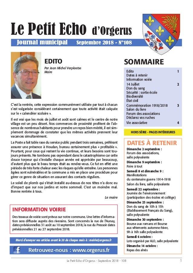 Le Petit Echo d'Orgerus - Septembre 2018 - 108 1 Dimanche 2 septembre : Forum des associations, salle polyvalente Dimanche...