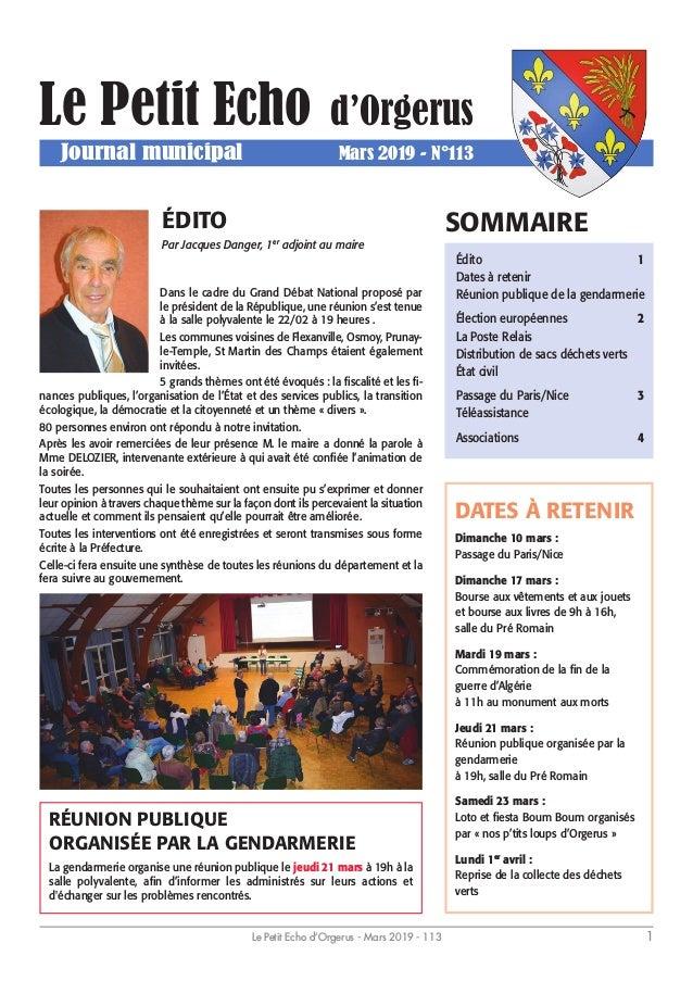 5bc7afebb2a Le Petit Echo d Orgerus Journal municipal Mars 2019 - N°113 Dans le ...