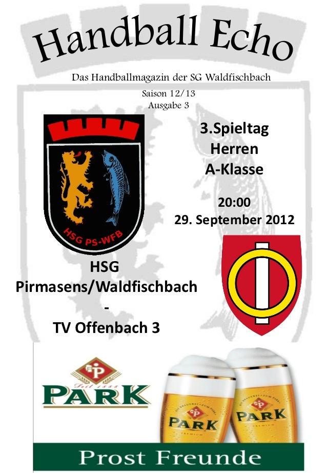 Das Handballmagazin der SG Waldfischbach                     Saison 12/13                      Ausgabe 3                  ...