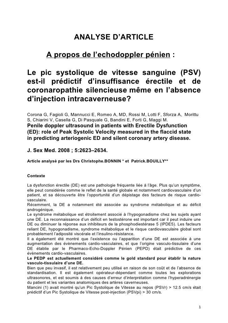 ANALYSE D'ARTICLE             A propos de l'echodoppler pénien :  Le pic systolique de vitesse sanguine (PSV) est-il prédi...