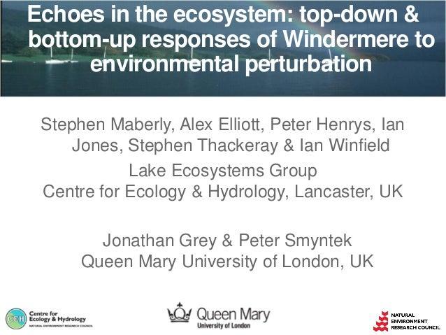 Stephen Maberly, Alex Elliott, Peter Henrys, Ian Jones, Stephen Thackeray & Ian Winfield Lake Ecosystems Group Centre for ...