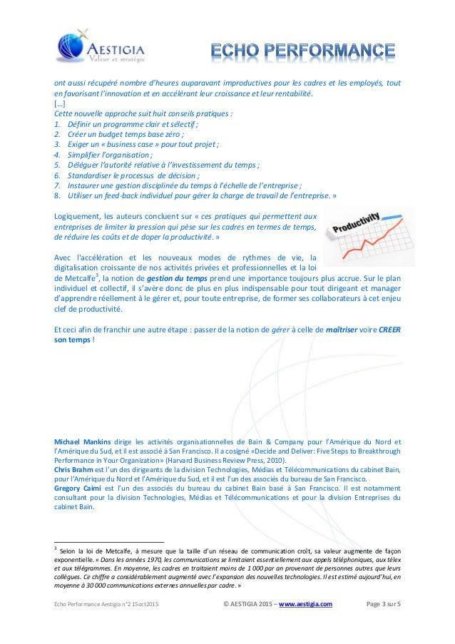 AESTIGIA Echo Performance #2 : de la gestion à la maîtrise du temps Slide 3