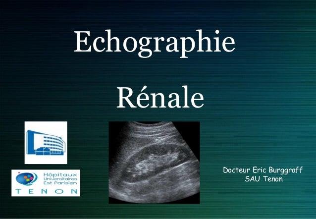 Echographie Rénale Docteur Eric Burggraff SAU Tenon