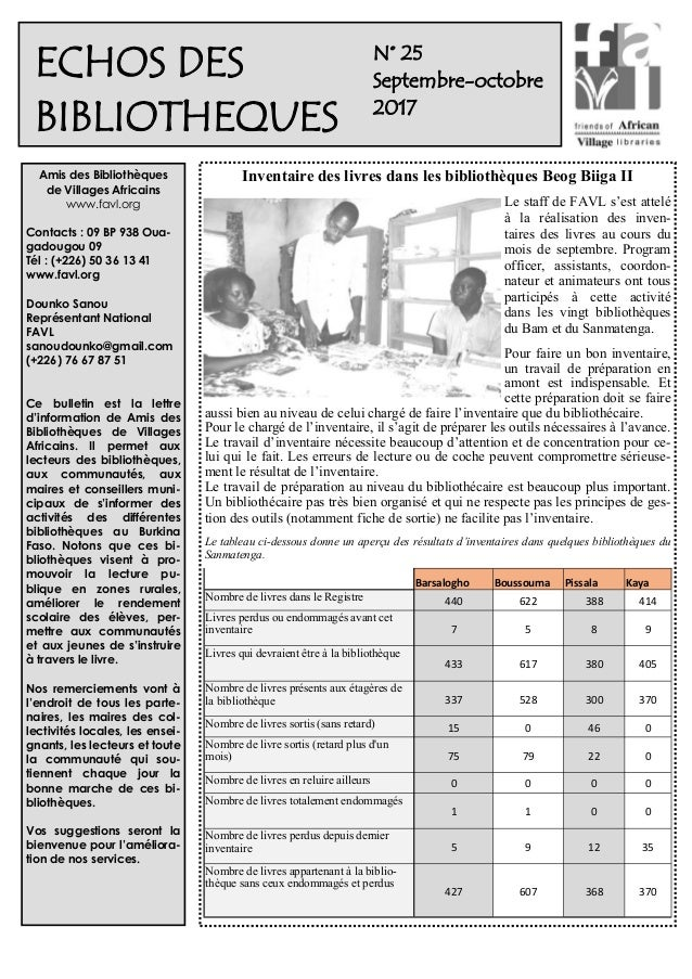 1 N° 25 Septembre-octobre 2017 Amis des Bibliothèques de Villages Africains www.favl.org Contacts : 09 BP 938 Oua- gadougo...