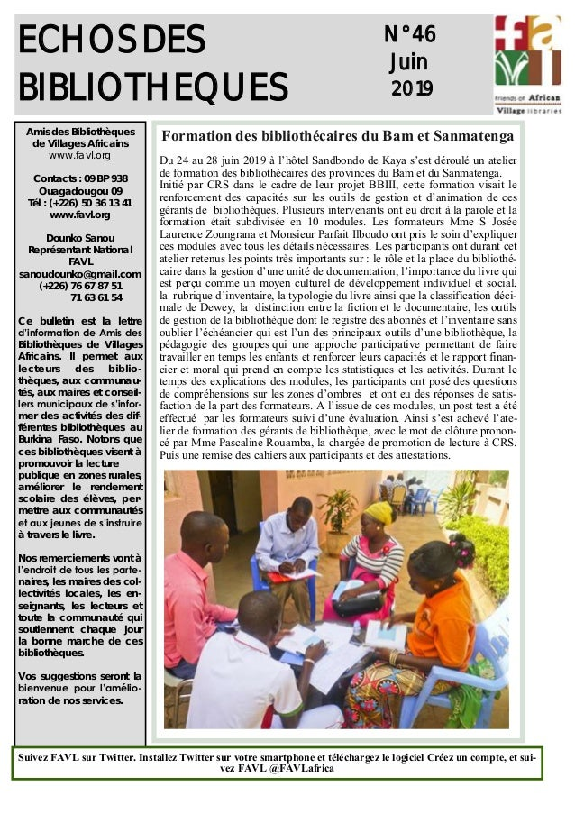 1 ECHOS DES BIBLIOTHEQUES N° 46 Juin 2019 Amis des Bibliothèques de Villages Africains www.favl.org Contacts : 09 BP 938 O...