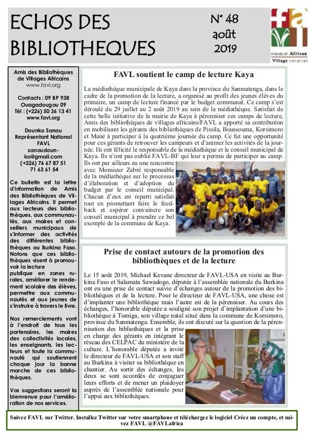 1 ECHOS DES BIBLIOTHEQUES N° 48 août 2019 Amis des Bibliothèques de Villages Africains www.favl.org Contacts : 09 BP 938 O...