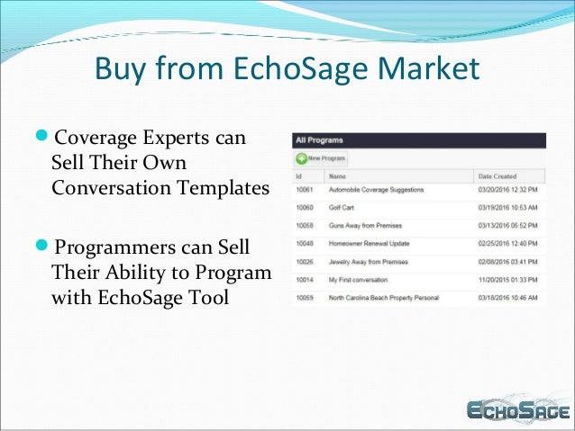 Buy from EchoSage Market Coverage Experts can Sell Their Own Conversation Templates Programmers can Sell Their Ability t...