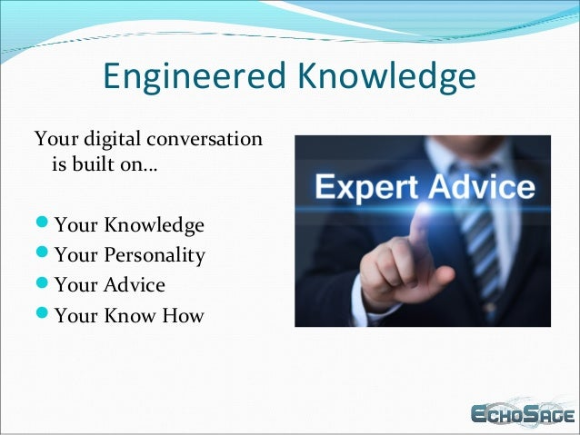 Engineered Knowledge Your digital conversation is built on… Your Knowledge Your Personality Your Advice Your Know How