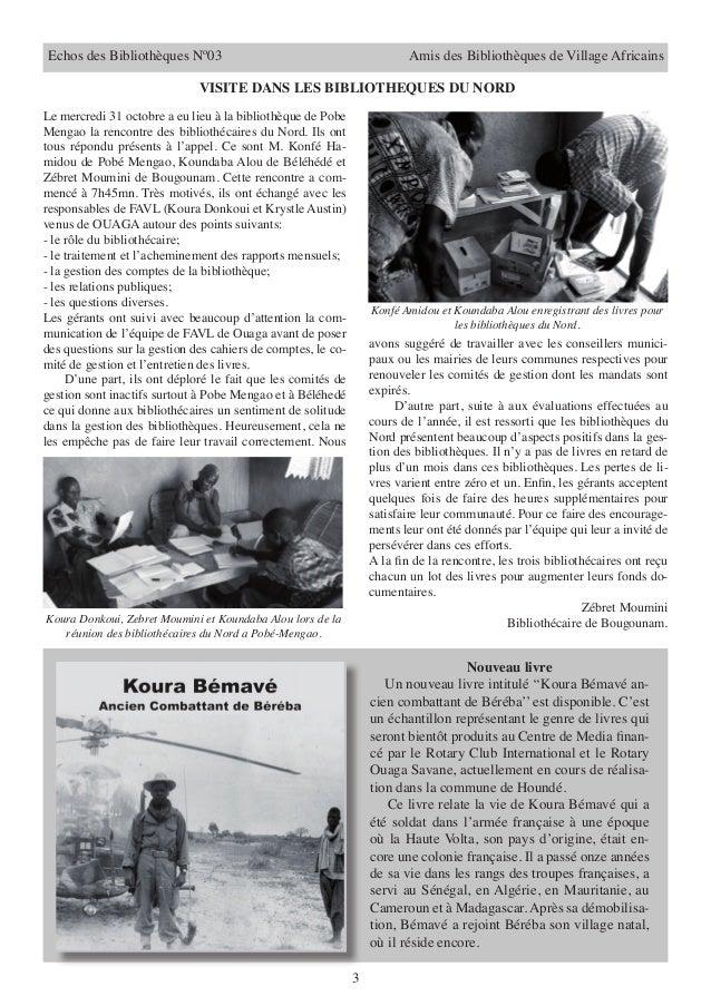 Echos des Bibliothèques Nº03                                              Amis des Bibliothèques de Village Africains     ...