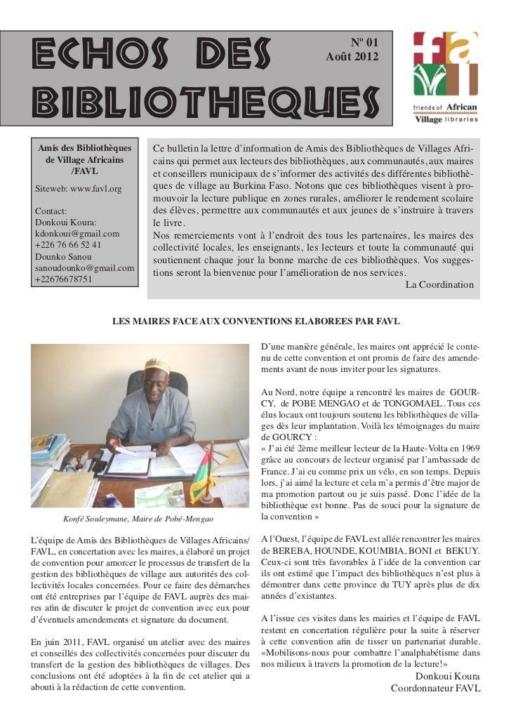 Nº 01ECHOS DES                                                                       Août 2012BIBLIOTHEQUES Amis des Bibli...