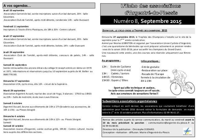 A vos agendas… Jeudi 10 septembre -Association Carnet de bal, soirée inscriptions suivie d'un bal dansant, 20h - Salle Céz...