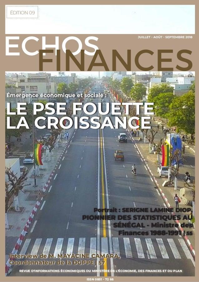 ÉDITION 09 REVUE D'INFORMATIONS ÉCONOMIQUES DU MINISTÈRE DE L'ÉCONOMIE, DES FINANCES ET DU PLAN ISSN 0851 - 72 66 Intervie...