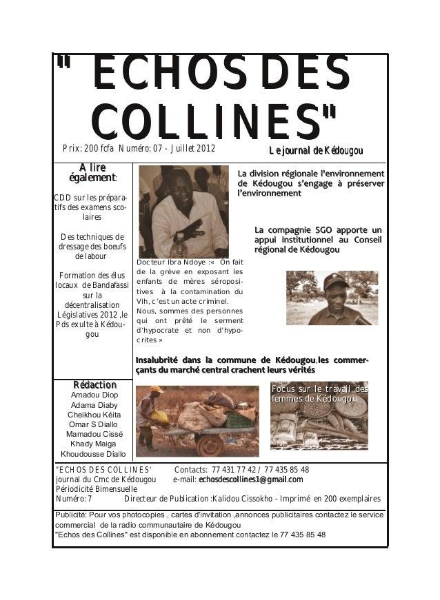 """"""""""" EECCHHOOSS DDEESS CCOOLLLLIINNEESS"""""""" AA lliirree ééggaalleemmeenntt: CDD sur les prépara tifs des examens sco laires ..."""
