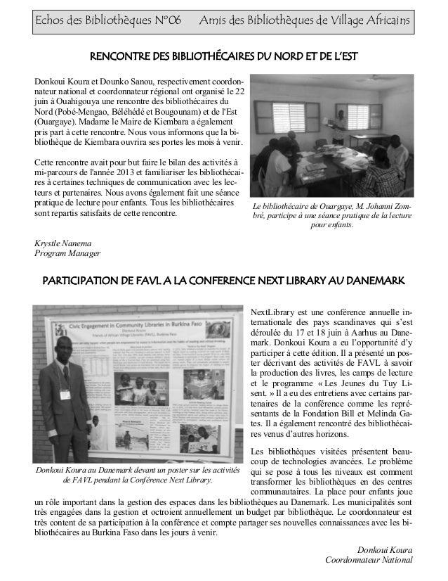 Echos des Bibliothèques Nº06 Amis des Bibliothèques de Village Africains PARTICIPATION DE FAVL A LA CONFERENCE NEXT LIBRAR...