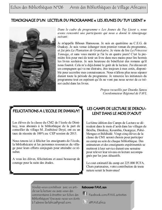 Echos des Bibliothèques Nº06 Amis des Bibliothèques de Village Africains Dans le cadre du programme « Les Jeunes du Tuy Li...
