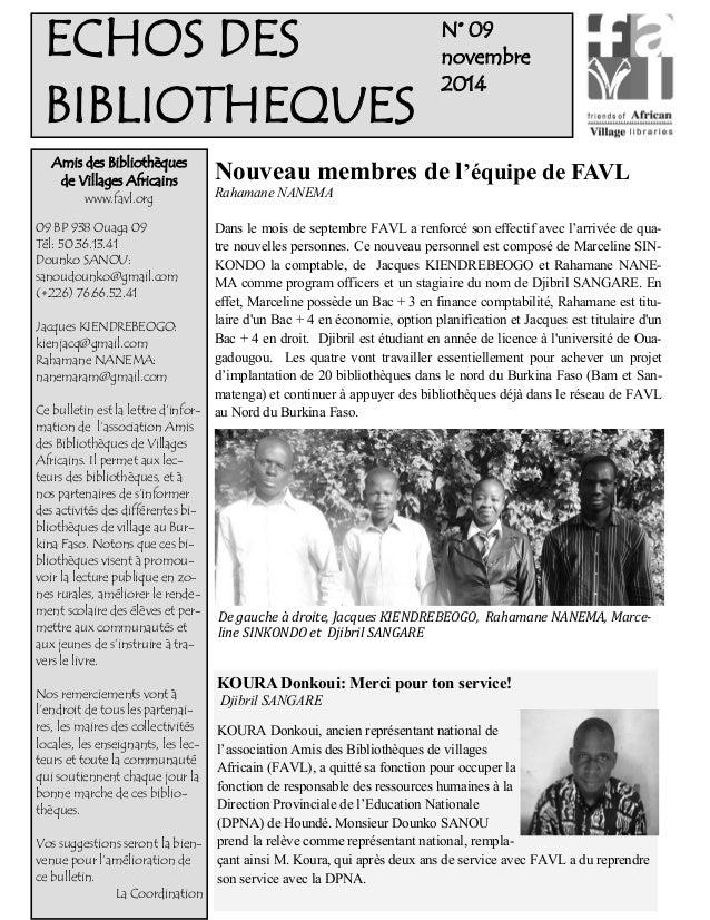 N° 09  novembre  2014  Amis des Bibliothèques  de Villages Africains  www.favl.org  09 BP 938 Ouaga 09  Tél: 50.36.13.41  ...